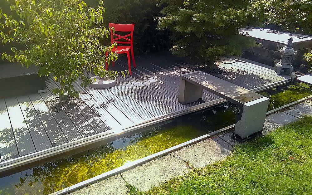Terrassendeck mit Bachlauf aus Edelstahl