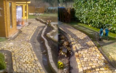Weg durch den Garten aus polnischem Sandstein